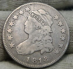 1818 Capped Bust Quarter 25 Cents - Key Date, Nice Coin, Free Shipping. 8299