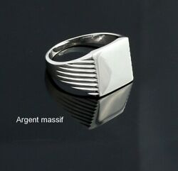 Chevaliere Square With Burn Sterling Silver Mens Ring Woman Without Engraving