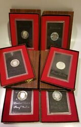Lot Of 6 1971s - Proof Eisenhower Dollars W/boxes Cool Toning Ring Look