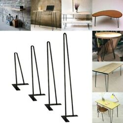 Usa 8- 22 Set Of 4 Solid Iron Bar W/ Screw For Coffee Metal Hairpin Table Legs