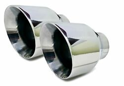 Two Bolt On Stainless Steel Dual Wall Round Exhaust Tips 2.5