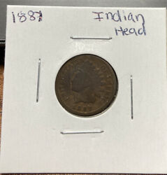 1887 Indian Head Cent Bronze Penny 1c Coin Collectible Raw 356