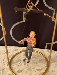 Miniature Antique Howdy Doody Marionette Cowboy Puppet In Custom Cage Hanging