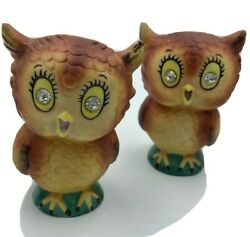Vintage Py 22623 Japan Hand Painted Salt And Pepper Shakers Owls With Gem Eyes