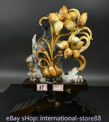 14.4 Chinese Natural Xiu Jade Carving Feng Shui Lily Lilies Flower Base Statue