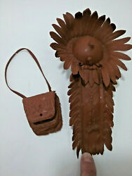Marx Johnny West Chief Cherokee Headdress And Bag, Brown Soft Plastic.