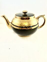 Vintage English Tea Pot Charcoal Gray With 22k Gold Hand Painted Guilding