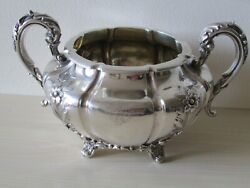 Fabulous Large V Heavy Irish Antique Victorian 1841 Sterling Silver Sugar Bowl