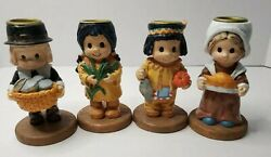 Vintage Thanksgiving Candle Holder Set Pilgrims Indians Colonial Native American
