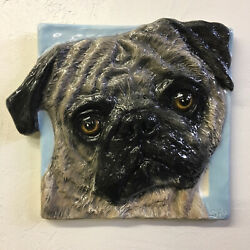 Pug Dog Portrait In Ceramic 3d Bas-relief Handmade Sculpture Alexander Art Usa