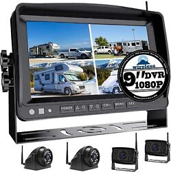 1080p Wireless Backup Camera With 9 Large Dvr Monitor For Rv Semi Box Truck And