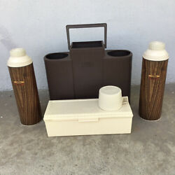 Vintage Thermos Carrying Case Cup Container 2 Thermos Wood Pattern Brown Set