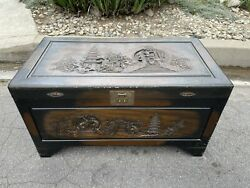 Vintage Chinese Wood Carved Yuen Lee Chest From 1930s Shanghai
