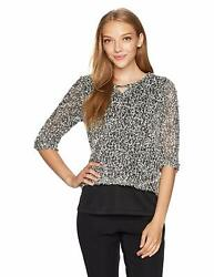 Alfred Dunner Womens Closet Case Collection Textured Top Black 1x
