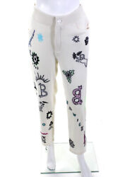 Barrie Womens Cashmere Embroidered Crystal Knit Pants Cream White Size Small