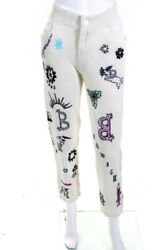 Barrie Womens Cashmere Embroidered Crystal Knit Pants Cream White Size Xs