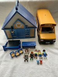 Playmobil Take-along School House Play Set 5662 With School Bus