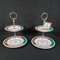 Set Of 2 Holly Hobbie Christmas 2 Tier Tidbit Tray Dessert Serving Dishes New