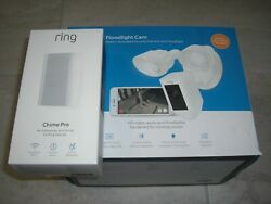 Ring Floodlight Camera Motion Hd Security Cam Two-way Talk White W/2nd Chime Pro