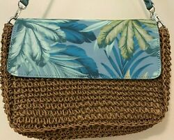 TOMMY BAHAMA Woven Straw and Blue Palm Leather Bag Clutch EUC $22.00