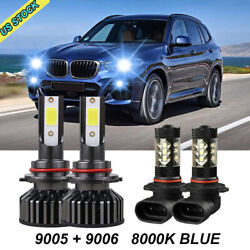 4x 9005 9006 Led Headlight Kit Combo Total 3000w 450000lm High Low Beam 8000k Us