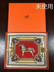 Hermes Hermes Ashtray Horse Pattern Red Gold Tray Accessory Case Unused