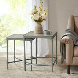 Martha Stewart Bryn Lee Accent Nesting Table With Antique Silver Mt125-0104