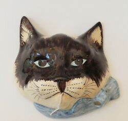 Babbacombe Pottery. String Dispenser Cat Siamese with Blue bow