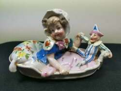Antique Girl With Punch Puppet Doll Figurine Ceramic Bisque Porcelain 1800's