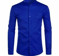 Men Dress Mandarin Collar Solid Long Sleeve Casual Button Down Pocket Shirt Male