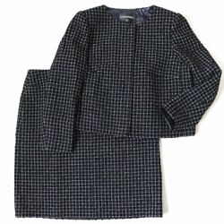 Secondhand Pole Lined Silk Plaid No-collar Jacket Skirt No.7977