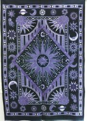 Tapestry Blue Astrology Wall Hanging Indian Tapestry Poster Home Decor Sun Moon
