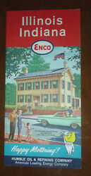 1962 Illinois Indiana Road Map Enco Oil Gas Lincoln House Springfield Cover