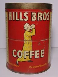Old Vintage 1945 Hills Brothers Coffee Graphic Tin Can 2 Pound San Francisco Ca