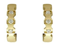 Vintage 0.24ct Diamond And 18ct Yellow Gold Hoop Earrings Circa 1980