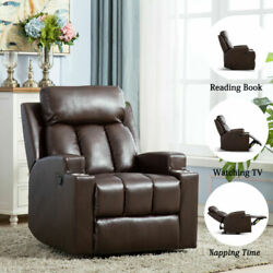 Leather Recliner Sofa Manual Single Couch Reclining Chair Home Furniture W/2 Cup