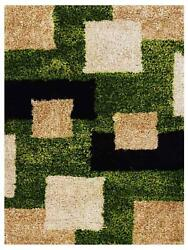 Hand Tufted Shag Polyester 10and039x13and039 Rug Geometric Green Beige Bbh Homes Bbk00012