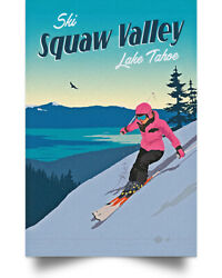 Ski Squaw Valley Lake Tahoe Wall Art Decor Home Poster Full Size