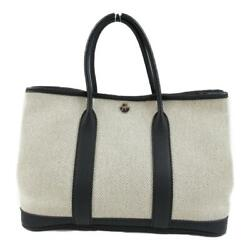 Hermes Garden Tpm Tote Hand Bag Toile H Grey Used