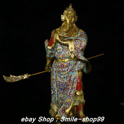 24and039and039 Old Pure Bronze Cloisonne Enamel Guan Gong Yu Warrior God Broadsword Statue
