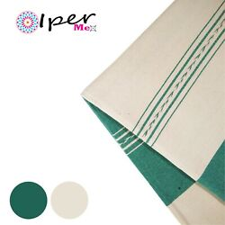 Exclusive Mexican Handmade Natural Cotton Tablecloth In Aqua Green With Natural