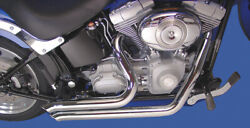 Harley Fxst Softail Exhaust Drag Sweeper Pipes Chrome 1986-17 V-twin 30-0792 X4