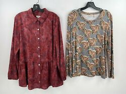 Logo Lori Goldstein Medium Blouse Top Lot Of 2 Floral Button Front Jersey A11-03