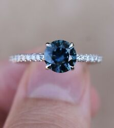 Teal Blue Montana Sapphire Solitaire Engagement Ring 14k Gold