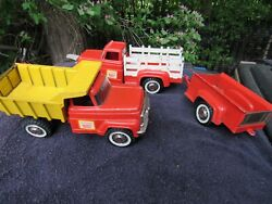 Vintage 1960and039s Hubley Mighty Metal Stake Truck And Trailer Dump Truck Lot Diecast