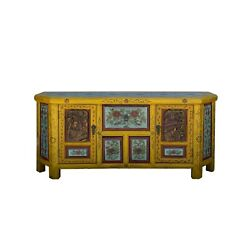 Chinese Distressed Yellow Blue People Motif Tv Console Table Cabinet Cs6102