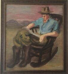 Wpa Era O/c Painting Young Man Reading In Rocking Chair Unsigned Alzira Peirce