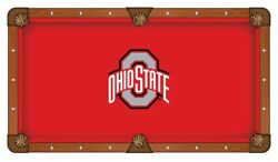 Ohio State Buckeyes Red With White And Gray Logo Billiard Pool Table Cloth
