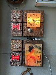 Vintage Budweiser Lighted Wall Sign And Pendulum Clock, Set Of 2, 1960s-70s