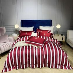 Egyptian Cotton Bedding Sheet Set 4 Pieces Red And White Striped Quilt Covers